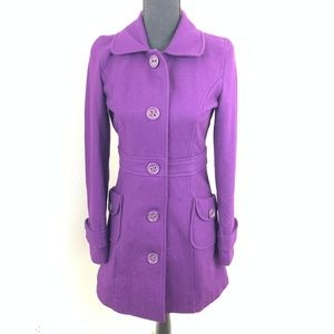 Tulle Purple Button Down Wool Pea Coat S
